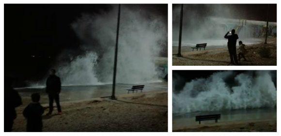 Παλαιό Φάληρο: Εντυπωσιακό σκηνικό από τα πελώρια κύματα (VIDEO)